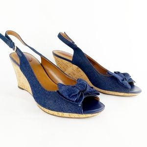 Clarks denim peep toes cork wedge sandal